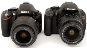 Nikon-D5100-Canon-T3i-front-side